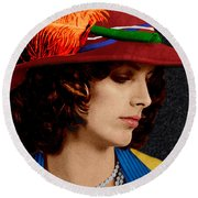 Beauty In A Red Hat Round Beach Towel