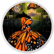 Round Beach Towel featuring the mixed media Beauty In All Things by Marvin Blaine