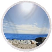 Beauty In The Distance Round Beach Towel by Judy Palkimas