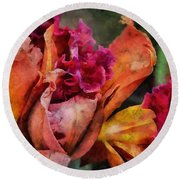 Round Beach Towel featuring the mixed media Beauty Of An Orchid by Trish Tritz