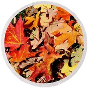 Beauty Of Fallen Leaves Round Beach Towel