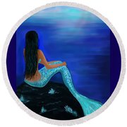 Round Beach Towel featuring the painting Beauty Of The Isle by Leslie Allen