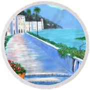 Round Beach Towel featuring the painting Beauty Of The Riviera by Larry Cirigliano