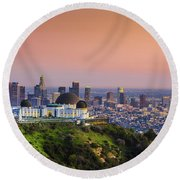 Beauty On The Hill Round Beach Towel