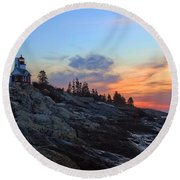 Beauty On The Rocks Round Beach Towel