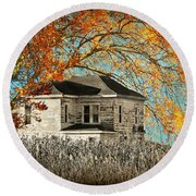 Beauty Surrounds Deserted Home Round Beach Towel