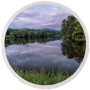 Beaver Lake Reflections Round Beach Towel