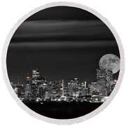 Beaver Moonrise In B And W Round Beach Towel by Kristal Kraft
