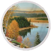 Beaver Pond Lookout Round Beach Towel