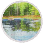 Beaver Pond Reflections Round Beach Towel