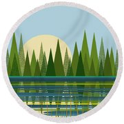 Beaver Pond - Vertical Round Beach Towel by Val Arie