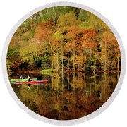Beaver's Bend Canoeing Round Beach Towel by Tamyra Ayles