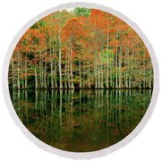 Beaver's Bend Cypress All In A Row Round Beach Towel