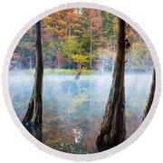 Beavers Bend Cypress Grove Round Beach Towel by Inge Johnsson
