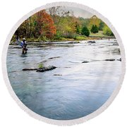 Beaver's Bend Fly Fishing Round Beach Towel