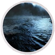 Beaver's Bend Fog Round Beach Towel by Tamyra Ayles