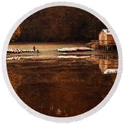 Beaver's Bend Quiet Morning Round Beach Towel