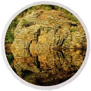 Beaver's Bend Rock Wall Reflection Round Beach Towel