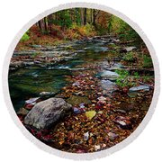 Beaver's Bend Tiny Stream Vertical Round Beach Towel by Tamyra Ayles