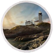 Round Beach Towel featuring the photograph Beavertail Light by Robin-Lee Vieira