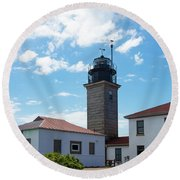 Beavertail Lighthouse Rhode Island Round Beach Towel