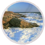 Beavertail Point And Lighthouse  Round Beach Towel