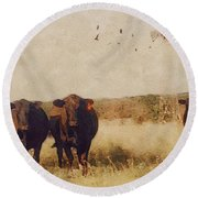 Because Cows Round Beach Towel by Michele Carter