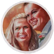 Becky And Chris Round Beach Towel by Marilyn Jacobson