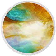 Becoming - Abstract Art Round Beach Towel