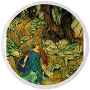 Round Beach Towel featuring the painting Becuma Of The White Skin 1920 Medieval Irish Mythology by Peter Gumaer Ogden