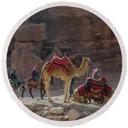 Bedouin Tribesmen, Petra Jordan Round Beach Towel
