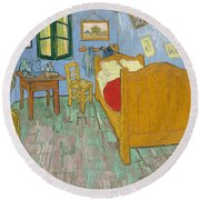 Round Beach Towel featuring the painting Bedroom At Arles by Van Gogh