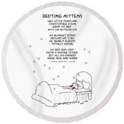 Round Beach Towel featuring the drawing Bedtime Mittens by John Haldane
