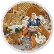 Bedtime Story On The Ark Round Beach Towel by Ditz