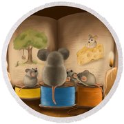 Round Beach Towel featuring the painting Bedtime Story by Veronica Minozzi
