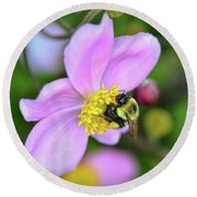 Round Beach Towel featuring the photograph Bee And Japanese Anemone by Kerri Farley
