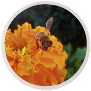 Bee And Marigold Round Beach Towel