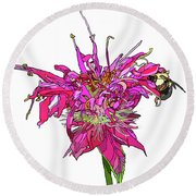Bee Balm Round Beach Towel