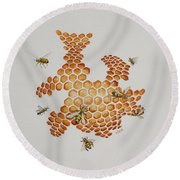 Bee Hive # 1 Round Beach Towel by Katherine Young-Beck