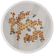 Round Beach Towel featuring the painting Bee Hive # 2 by Katherine Young-Beck