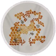 Round Beach Towel featuring the painting Bee Hive # 5 by Katherine Young-Beck