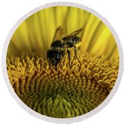 Round Beach Towel featuring the photograph Bee In A Sunflower by Paul Freidlund