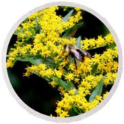 Bee In The Rawweed Round Beach Towel