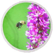 Bee Kissing A Flower Round Beach Towel