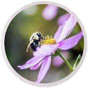Bee On Flower Round Beach Towel