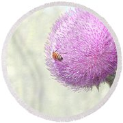 Bee On Giant Thistle Round Beach Towel
