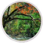 Beech Tree And Swinging Bridge Round Beach Towel