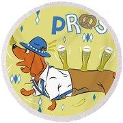 Beer Dachshund Dog Round Beach Towel