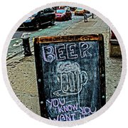 Round Beach Towel featuring the photograph Beer Sign by Sandy Moulder
