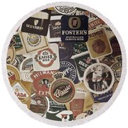 Beers Of The World Round Beach Towel